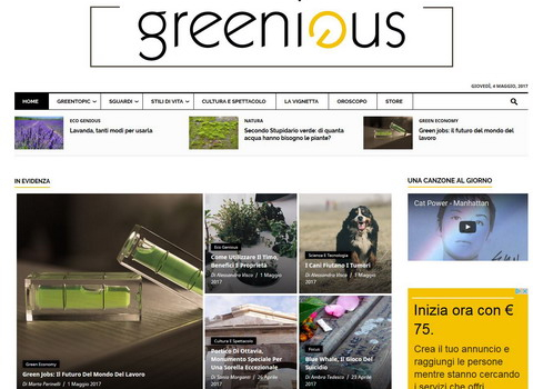 screenshot sito Greenious.it